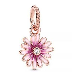 Pink Daisy Flower Charm For Pandora Bracelet
